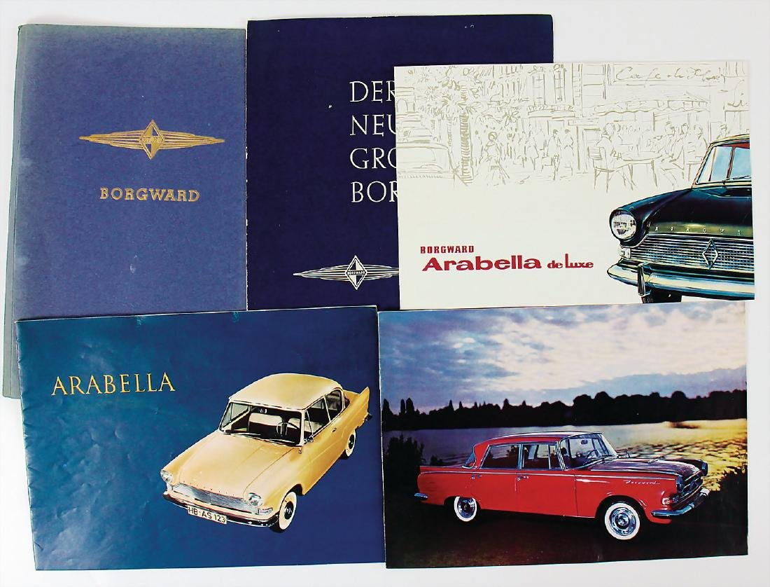 BORGWARD mixed lot with 5 pieces, sales brochures and