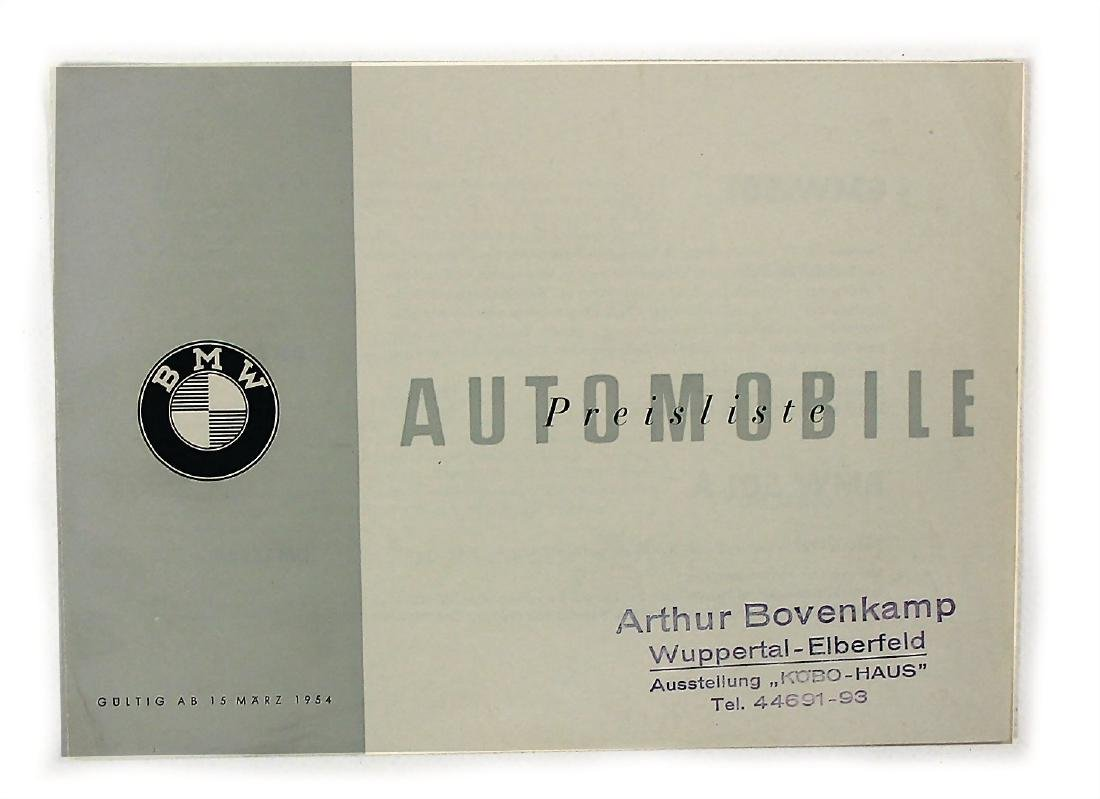 BMW automobiles price list from 1954, among it the