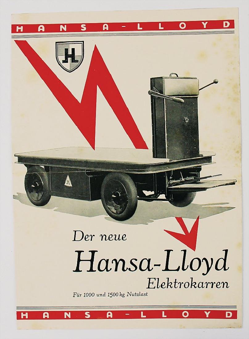 HANSA-LLOYD fold-out brochure electric cart 4 pages