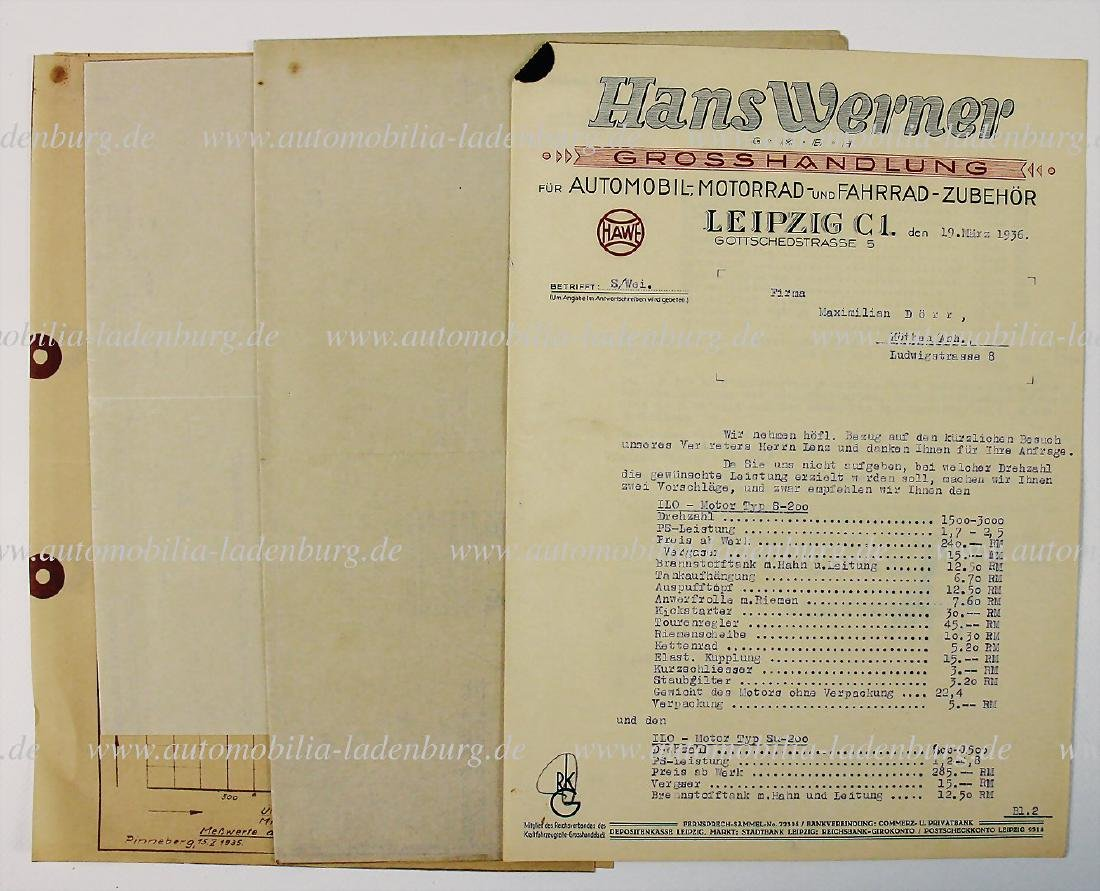 ILO offer, two pages, dated March 19th 1936 for engine