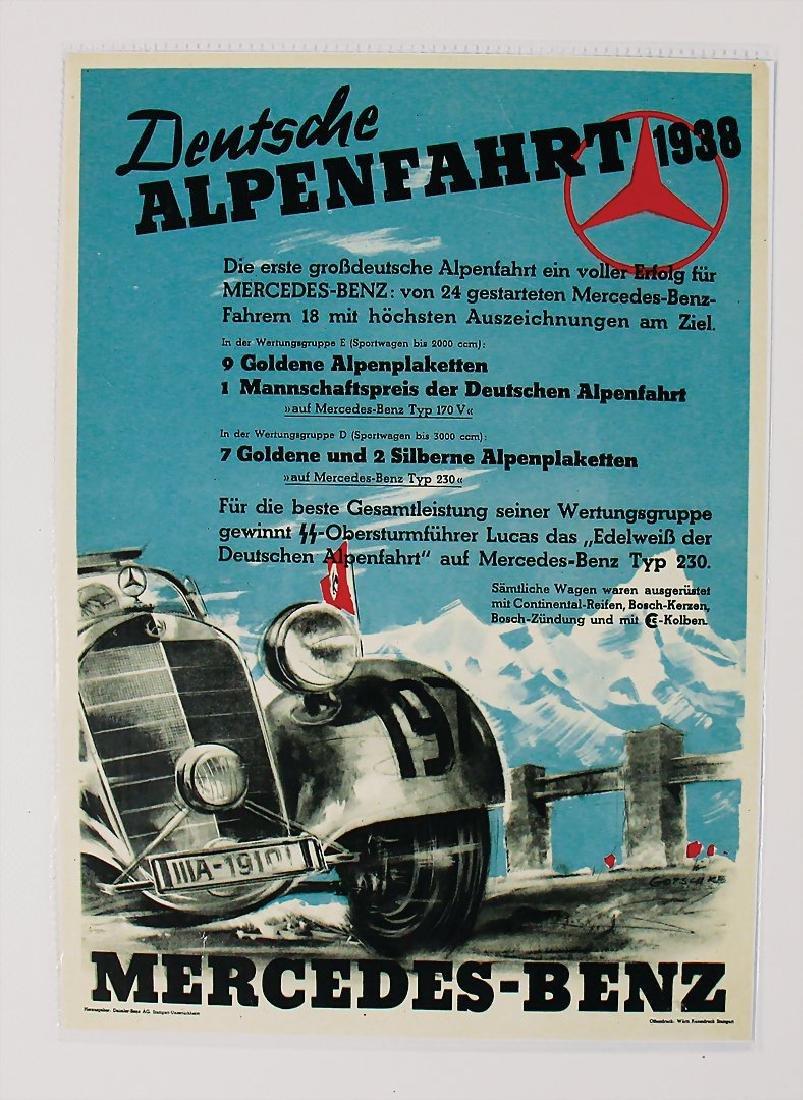 MERCEDES-BENZ small poster Deutsche Alps circuit 1938,
