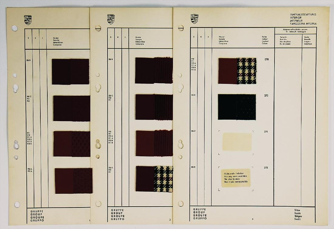 PORSCHE 3 pages interior fittings pattern for 356 B, C,