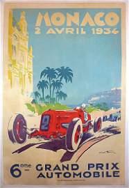poster Grand Prix Monaco 1934, draft Geo Ham, double