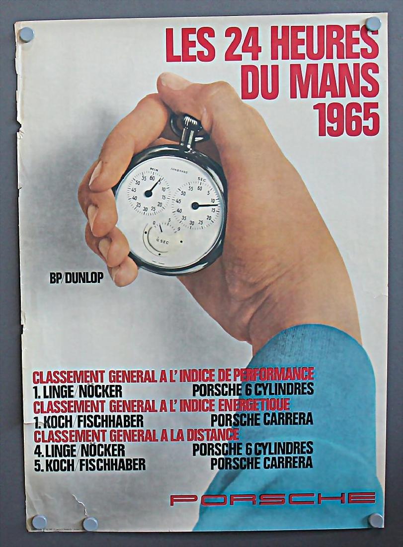 PORSCHE July 1965, racing poster Les 24 Heures du Mans,