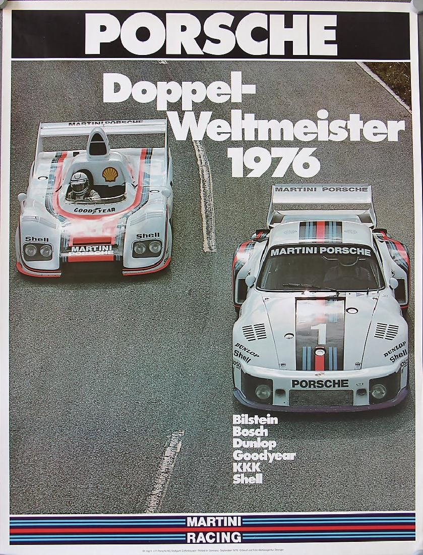 PORSCHE racing poster double world champion 1976,