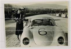 PORSCHE original BW photo Otto Mathe with his Porsche
