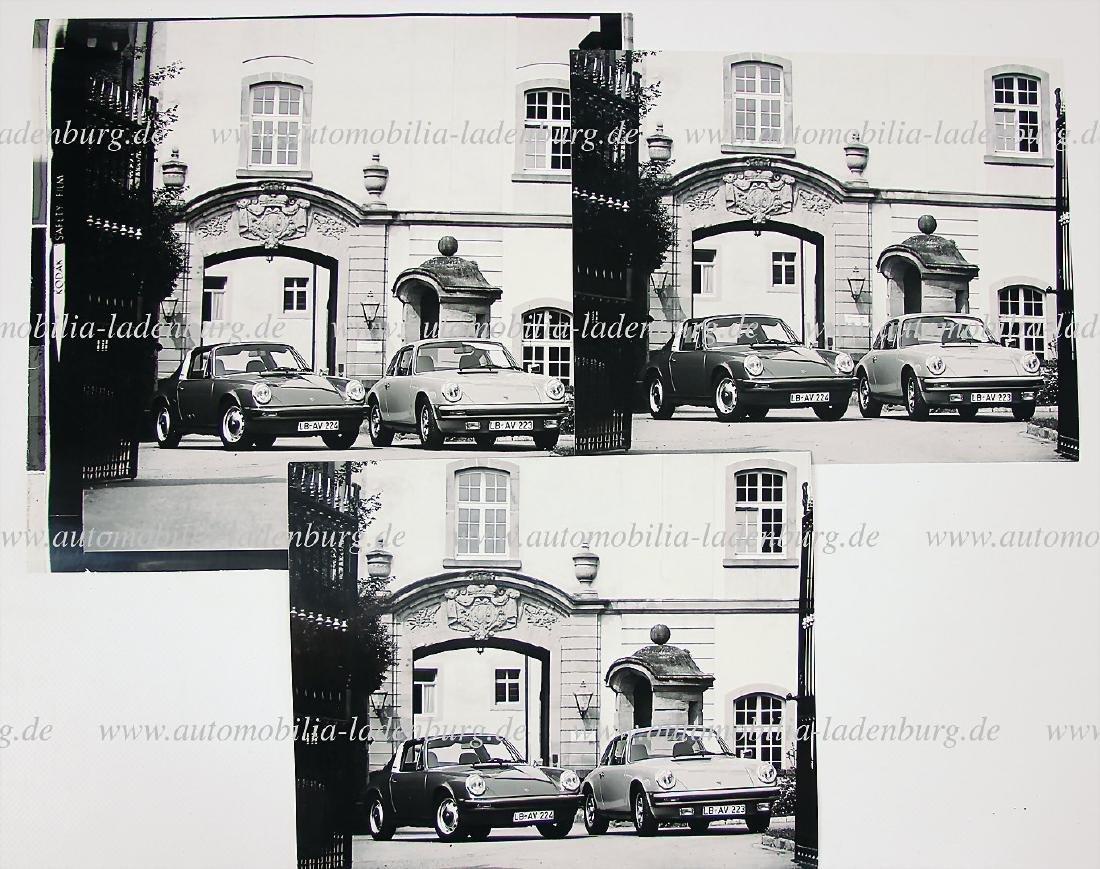 PORSCHE mixed lot of 3 original B/W photos c. 1974,
