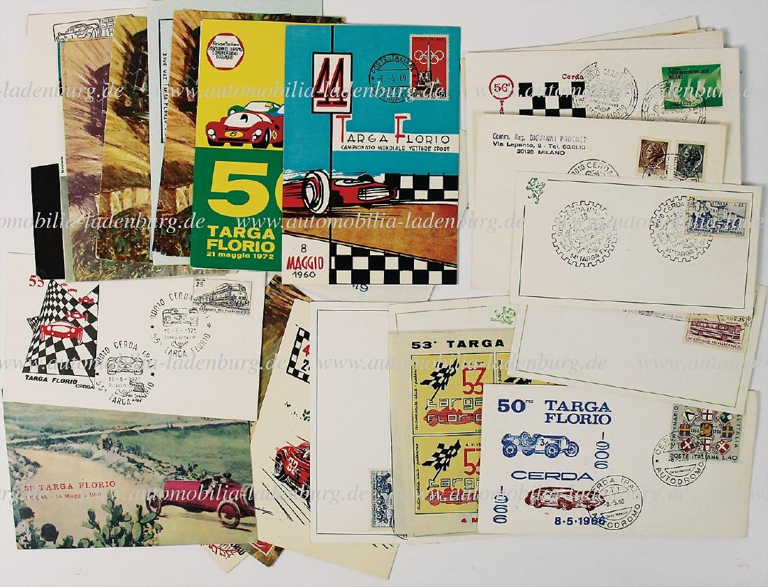 TARGA FLORIO mixed lot with 32 postcards from the '50s,