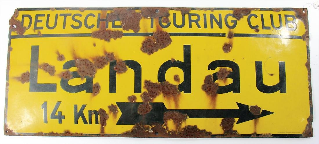 "enamel sign ""Deutscher Touring Club Landau"", with a"