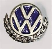 "VOLKSWAGEN radiator emblem VW ""1000 km"", enameled, good"