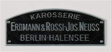 badge/coachwork emblem, Erdmann & Rossi Jos. Neuss,
