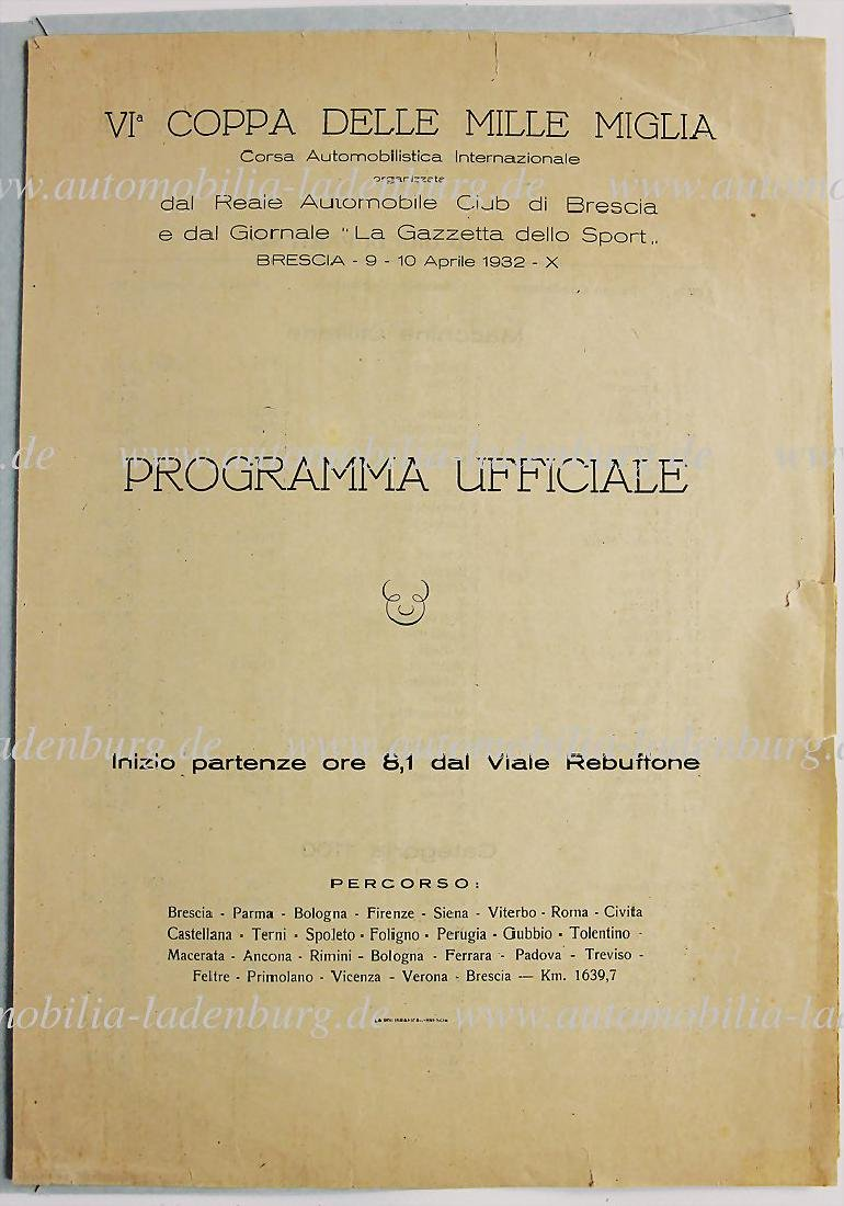 VI. MILLE MIGLIA 1932, four pages long list of