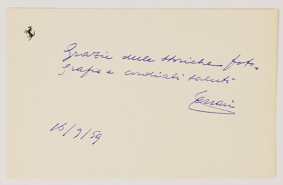 ENZO FERRARI autographed greeting card with dedication