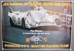 PORSCHE/MARTINI racing poster 24 heures du Mans 1971