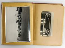 photo album, inside with 35 B/W photos, postcards and