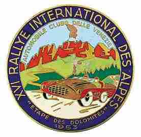 "badge ""XVI. Rallye International de Alpes 1953"", with a"