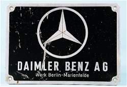 2482: DAIMLER BENZ AG, aluminum sign (15 by 21 cm), Dai
