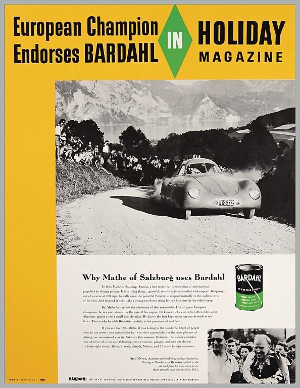 PORSCHE / BARDAHL 1955, original advertisement poster