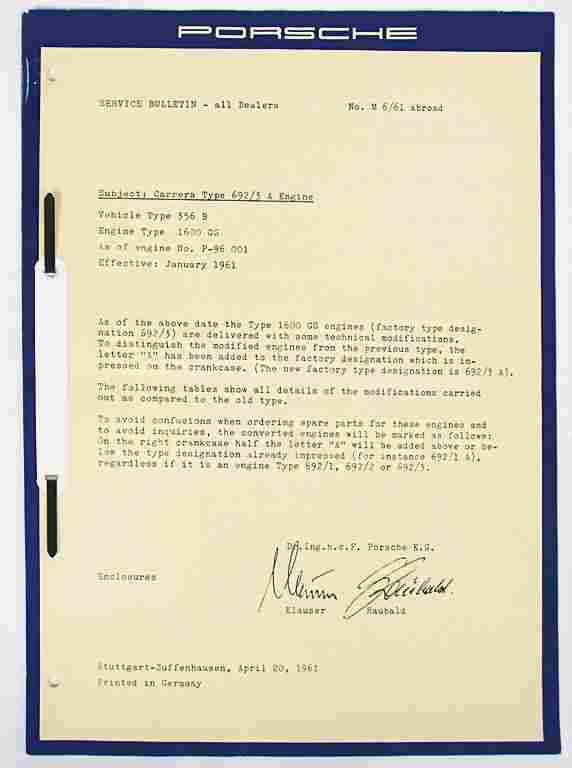 PORSCHE April 1961, circular letter by the customer
