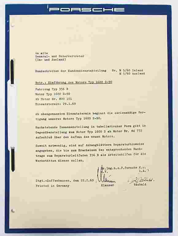PORSCHE February 1960, circular letter by the customer