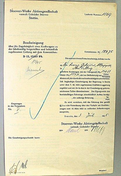1401: STOEWER WERKE AKTIENGESELLSCHAFT, Germany 1925, t