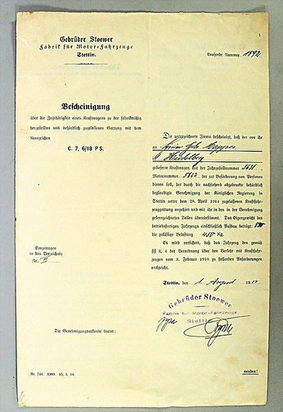 1402: GEBRÜDER STOEWER STETTIN, Germany 1914, type cert