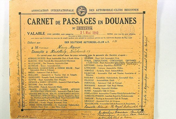 1412: CARNET DE PASSAGES EN DOUANES, D May 1940, make o