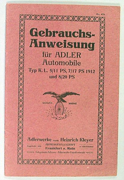 1415: ADLER, D 1912,l instructions for Adler automobile