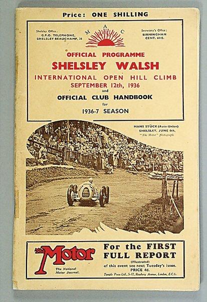 """1420: programme """"Shelsley Walsh Bergrennen 12.9.1936 In"""