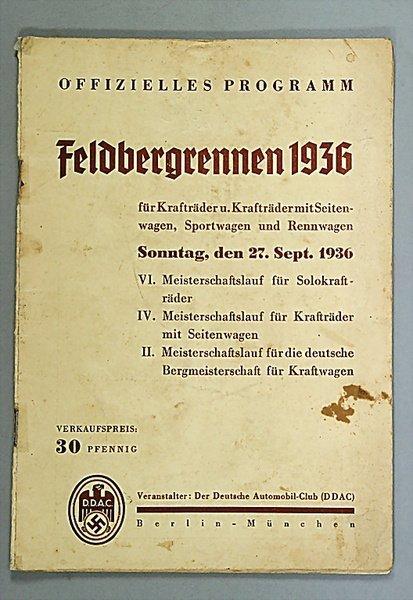 """1422: programme """"Feldbergrennen, 27. September 1936, Si"""