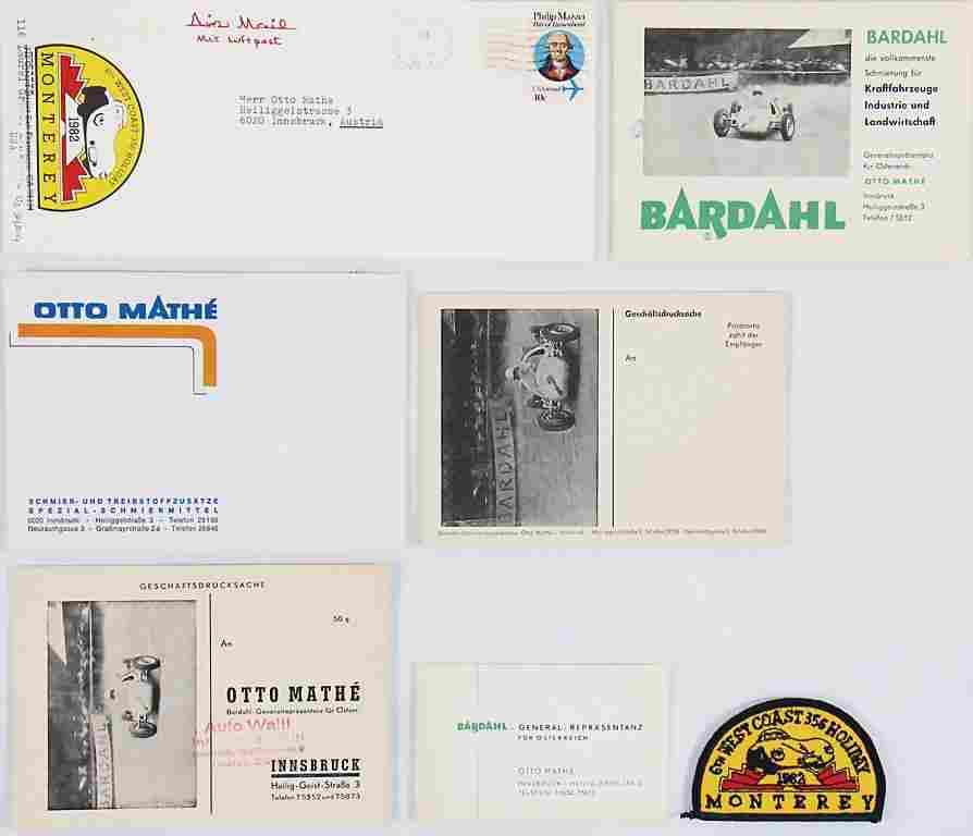 PORSCHE Otto Mathe , invitation envelope with patches