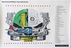 PORSCHE advertisement poster engine sectionalview