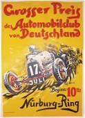 "AVUS RACING 1932, original poster ""Großer Preis des"