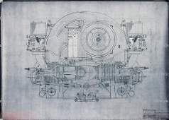 PORSCHE dated 1962 blueprint sectionalview of engine
