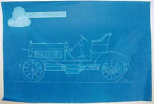 1533: LOHNER/ PORSCHE around 1902, blueprint of a Hybri