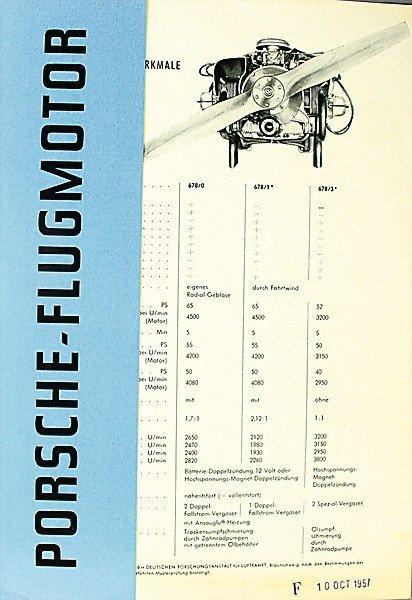 1603:  PORSCHE D 1957, brochure, Porsche aero engine, 4