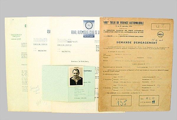 1611: PORSCHE/TOUR DE FRANCE 1959 certificate of applic