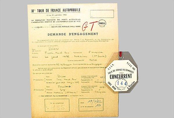 1612: PORSCHE/TOUR DE FRANCE 1962 participant certifica