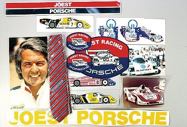 1615: JOEST PORSCHE mixed lot car stickers, sew-on team