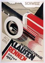 "KLAUSEN RACE 1927, poster ""VI. Internationales Klausen"