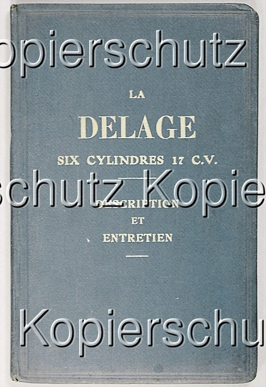 3: DELAGE operating instructions, in French, 6-cylinder