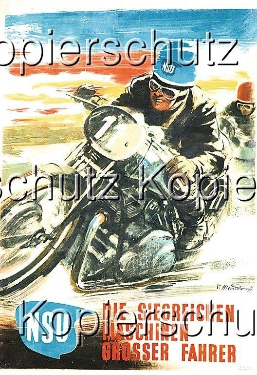 """2180: NSU racing poster, """"Die siegreichen Maschinen gro"""