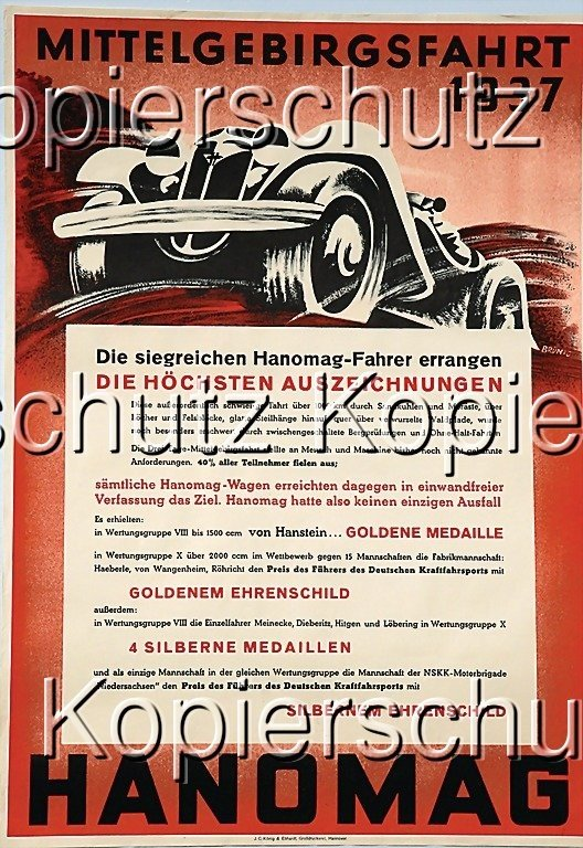2182: HANOMAG racing poster, Central German Uplands jou