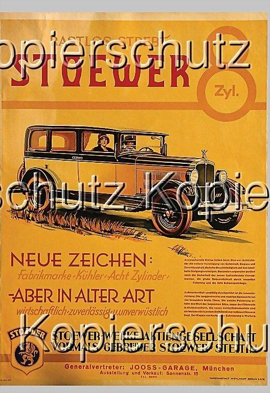 2183: STOEWER advertisement, c. 1928, Stoewer 8-cylinde