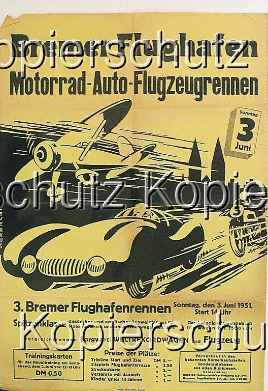 2184: racing poster Bremer airport motorbike-car-air pl