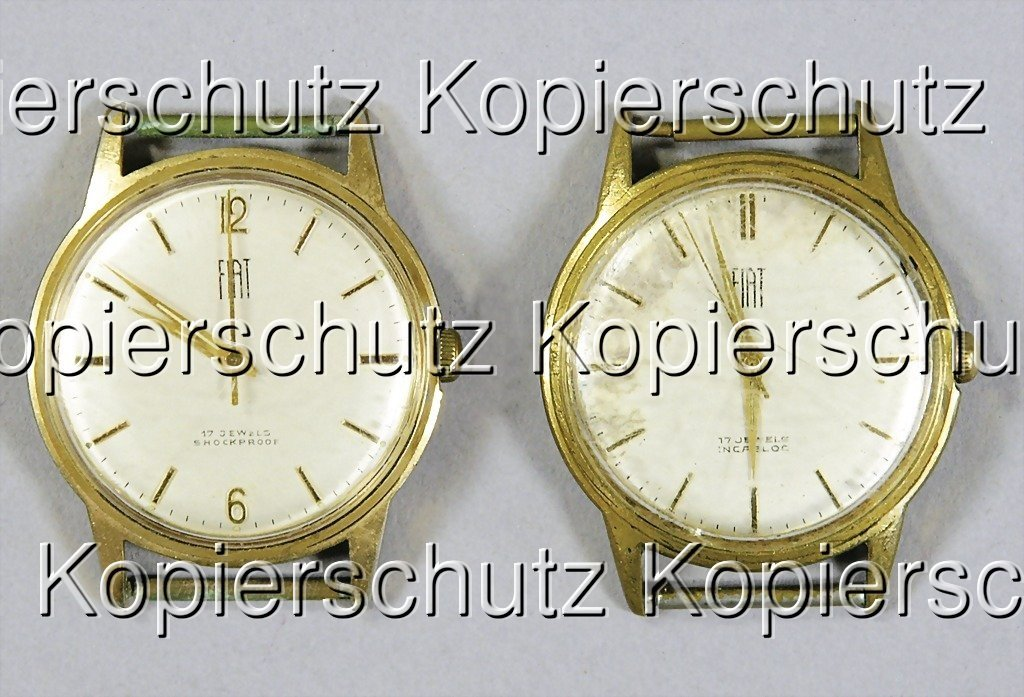 2350: 2 wristwatches without volume, Fiat, back with en