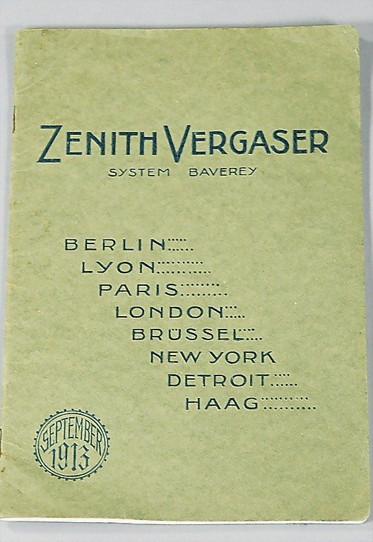 21: ZENITH sales catalog carburetor from September 1913