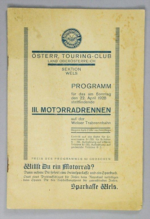 34: program 3rd motorbike race on the Welser horse trot