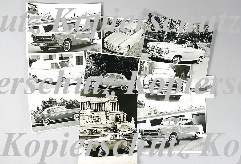 97: BORGWARD mixed lot of 57 original B/W photos, Golia