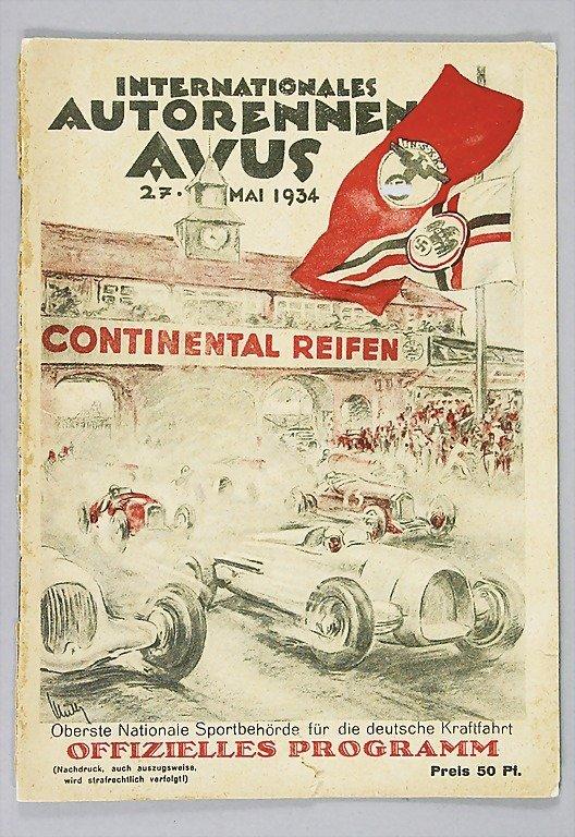 806: INT. AUTORENNEN AVUS MAI 1934 official programme,